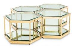 Mesa de centro cristal Sax set of 4