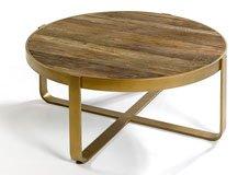 Mesa madera olmo y metal dorado