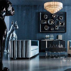 Muebles y decoración en azul