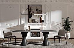 Mesa de comedor metal y microcemento oval Estoika