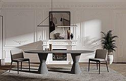 Mesa de comedor microcemento oval Estoika