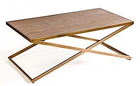 Mesa de centro roble y dorado