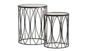 Set 2 mesas auxiliares de metal industrial Mundi