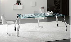 Mesa de comedor cristal Luz de luna Tonelli