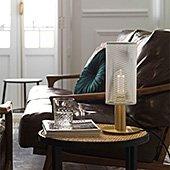 Lámpara de sobremesa dorada con tulipa blanca Fito