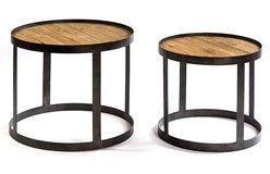 Set de mesas de centro madera pino y metal