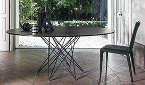 Mesa de comedor redonda cristal negro Octa Bonaldo