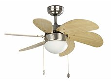 Ventilador de techo con luz led niquel y palas en roble