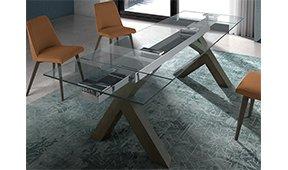 Mesa de comedor extensible cristal Sehar