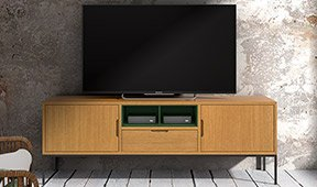Mesa de televisión 2 huecos industrial Loft Natur