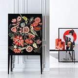 Armario vintage floral negro chinese