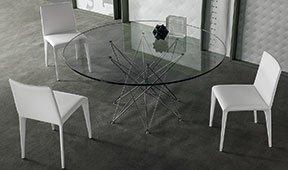 Mesa de comedor redonda cristal Octa Bonaldo