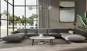 Sofá doble chaise longue de diseño Florencia