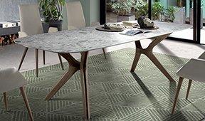 Mesa de comedor ovalada porcelánico Lin Fix