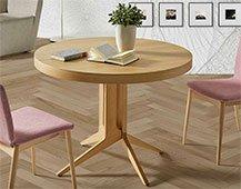 Mesa de comedor redonda roble extensible roble Dreslon