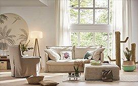 Sofá cama desenfundable tapizado en tejido natural Hamptons
