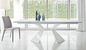Mesa de comedor extensible cristal blanco Prora Bonaldo
