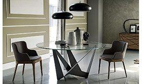 Mesa de comedor redonda cristal Moderna Skorpio
