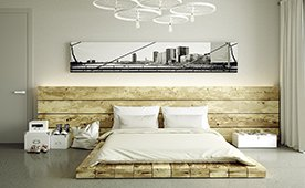 Cabecero y cama madera centenaria tatami Firet