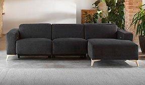 Sofá con chaise longue tapizado relax Geol