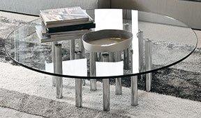 Mesa de centro redonda cristal Mille Bonaldo