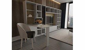 Librería modular convertible en escritorio Rentir