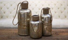 Set 3 botellas decorativas rustica antique
