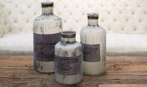 Set 3 botellas decorativas envejecidas