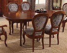 Mesa de comedor ovalada extensible clásica Jorja