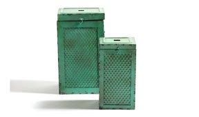 Set 2 taburetes caja verdes vintage Antique