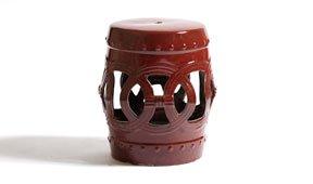 Taburete ceramico circulos rojo