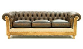 Sofá 3 plazas marrón envejecido chesterfield Chesire