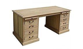 Mesa de despacho doble pedestal roble natural