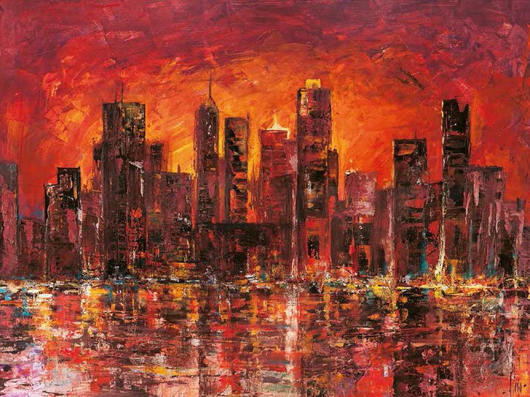 Cuadro canvas sunset in new york