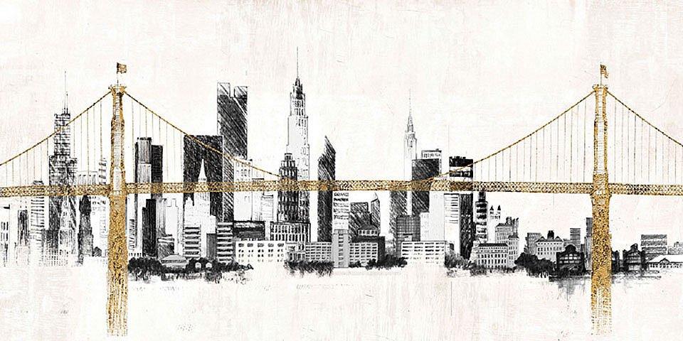 Cuadro canvas bridge and skyline