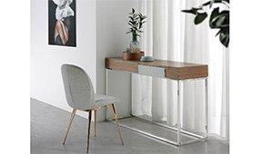 Mesa de escritorio recto nogal y acero inox Ridotti