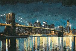 Cuadro canvas bright city lights blue