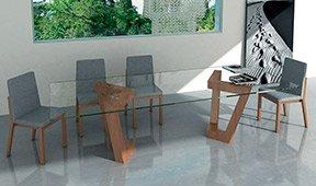 Mesa de comedor madera y cristal Olimpia