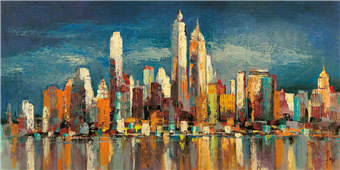 Cuadro canvas new york riflessi del mattino