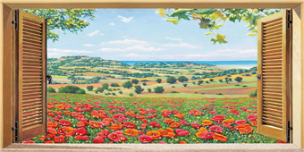 Cuadro canvas finestra su campo di papaveri