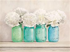 Cuadro canvas Peonies in mason jars