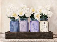 Cuadro canvas tulips in mason jars