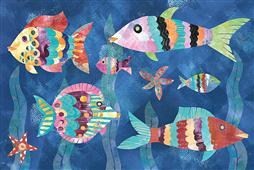 Cuadro canvas boho reef fish III