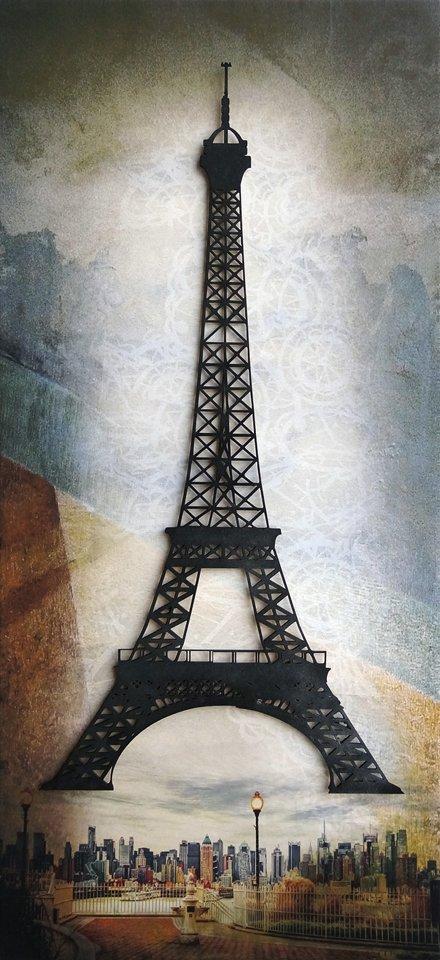 Cuadro torre eiffel relieve