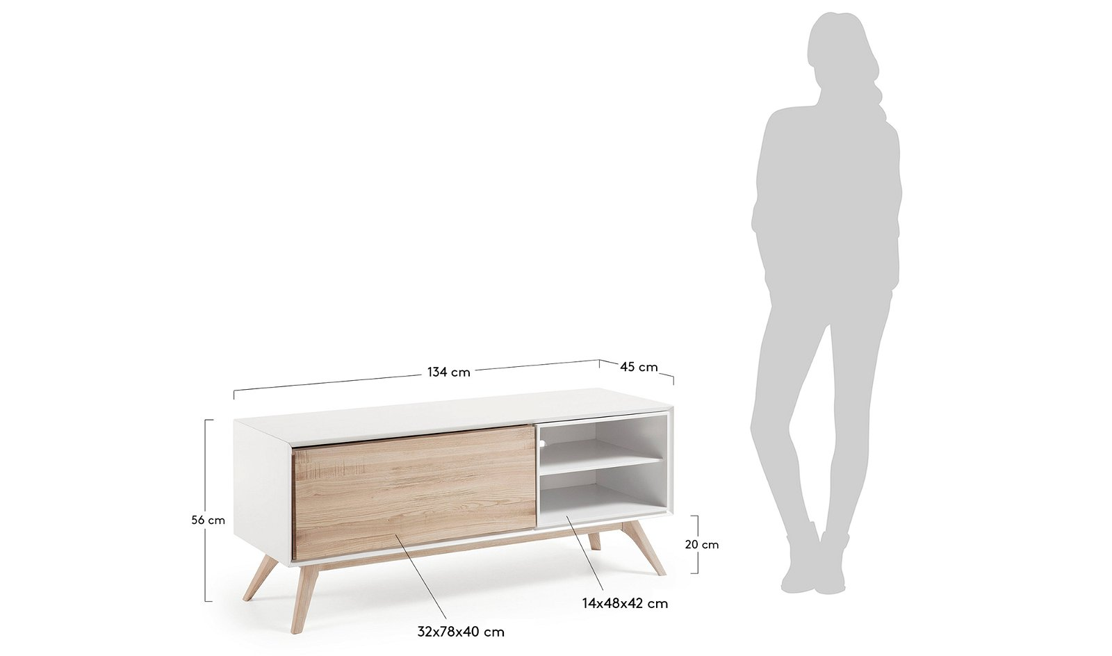 Mueble tv 1 puerta nórdico Quatre