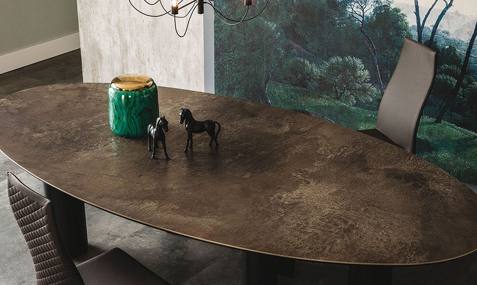 Mesa de comedor ovalada cerámica Roll Cattelan