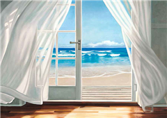 Cuadro canvas window by the sea