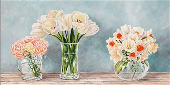 Cuadro canvas fleurs et vases aquamarine