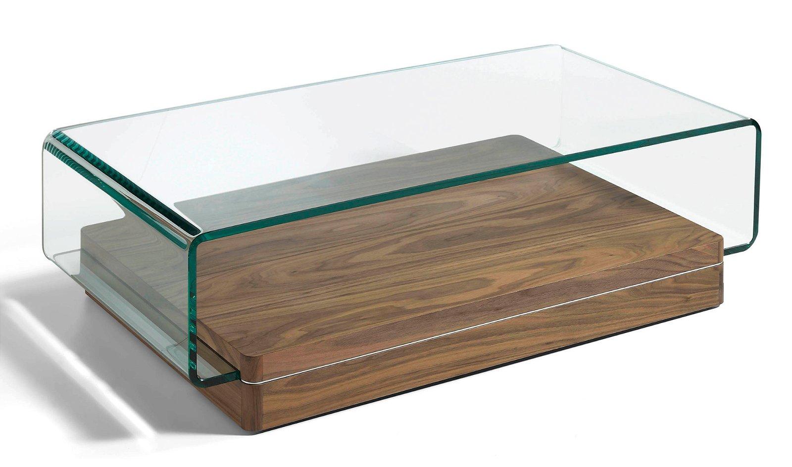 Mesa de centro nogal y cristal Trosda