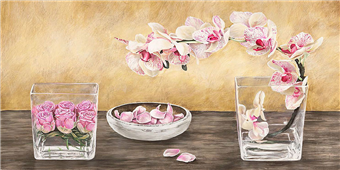 Cuadro canvas flores orchids and roses